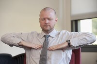 Adam Burn is a veteran of the U.S. Air Force, he now practices yogic breathing techniques to help combat stress.